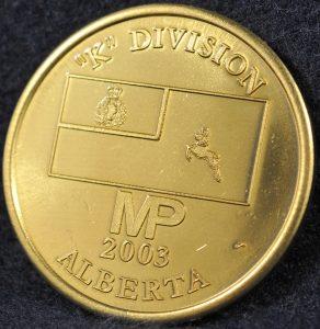 RCMP K Division Commander coin 2003 Gold 2
