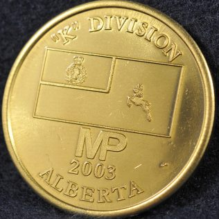 RCMP K Division Commander coin 2003 Gold