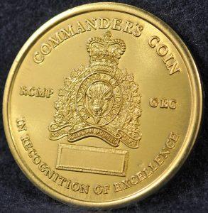 RCMP K Division Commander coin 2003 Gold
