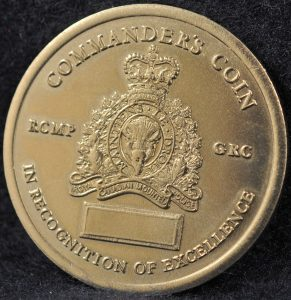 RCMP K Division Commander coin 2003 Silver 2