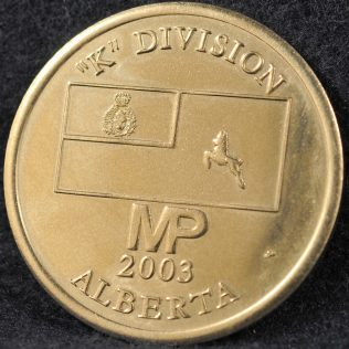 RCMP K Division Commander coin 2003 Silver