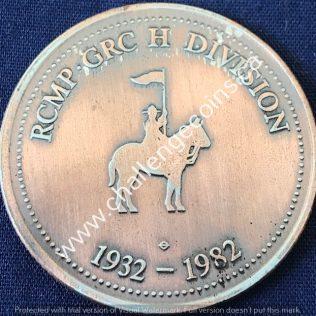 RCMP H Division - 50 Anniversary 1932-1982 Bronze